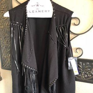 Nygard Black Leather Vest M